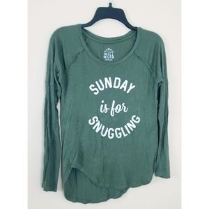 3/$25 Sunday Is For Snuggling Green Top Siz
